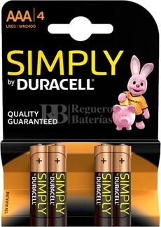 Pila Alcalina Duracell Simply Power AAA Blister 4 Unidades