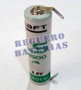 Pila de Litio Saft LS14500 3,6V 2.600 mAh Con Lenguetas 14,55x50,30mm