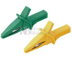 Pinzas de cocodrilo para puntas 4.0mm, verde y amarilla Nimo