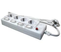 Regleta de 1 entrada 4 salidas Schuko con interruptores individuales