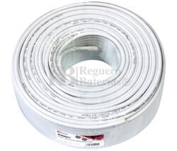 Rollo de cable coaxial de antena blanco 100m