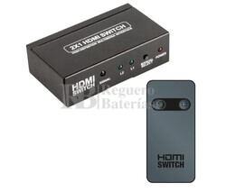 Switch HDMI 2 Entradas 1 Salida, con telemando